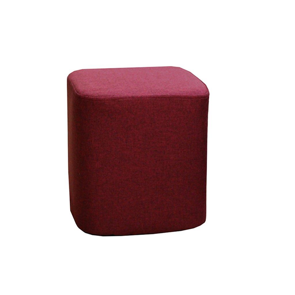 Vin Rouge  A-Fort DLDL En Bois voitureré Tabouret Canapé Chaise Tabourets portable Meubles Enfants Tabouret Avec Tissu Couverture Souple En Coussin De Siège En Mousse (Couleur   rose)
