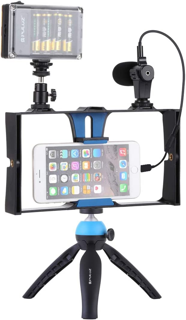 Xiaomi Cold Shoe Tripod Head for iPhone Huawei LG Tripod Mount Camera 4 in 1 Live Broadcast LED Selfie Light Smartphone Video Rig Kits with Microphone HTC Google Galaxy and Other Smartphone