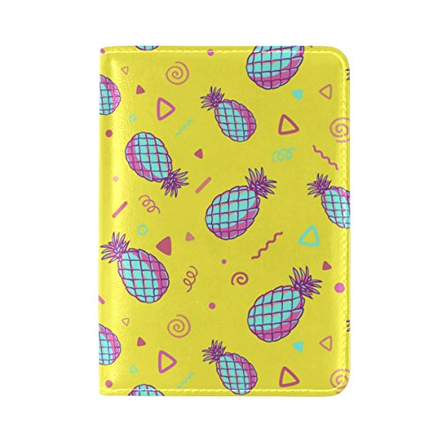 COOSUN gelbe Ananas Muster Leder Passhülle Cover für Travel One Pocket