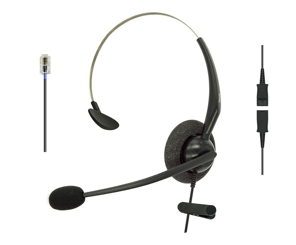 DailyHeadset RJ9 Mono Corded Noise Cancelling Microphone Phone Headset for Grandstream Yealink Snom Panasonic Business Office IP Phone