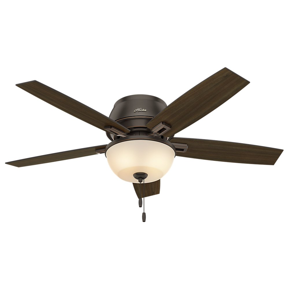 Hunter Indoor Low Profile Ceiling Fan with LED Light and pull chain control – Donegan 52 inch, Onyx Bengal, 53342