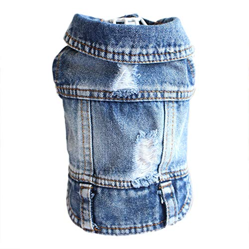 (Cuteboom Dog Jeans Puppy Jacket Cat Clothes Pet Costume Small and Medium Dog Cool Coat Blue)