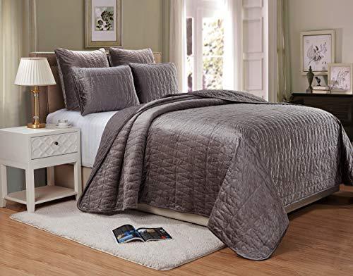 (Chezmoi Collection Sheila 3-Piece Premium Heavy Velvet Quilt Set Modern Pattern (King, Gray))