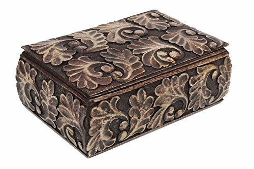 Country Set Armoire (Handcrafted Homey Keepsake Storage Box Jewelry Trinket Holder Organizer Strong Wood with Hand Carved Floral Pattern)