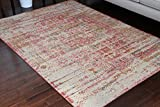 RUSTIC Collection Antique Style Wool Exposed Cotton and Jute Oriental Carpet Area Rug Rugs Charcol Rust Beige 7002 Red 8x11 8x10 7'10x10'2