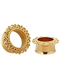 KUBOOZ Punk Style Ear Piercing Tunnels Plugs Jewelry Gold Plated Stainless Steel Flare Screw Back Plugs Gauges