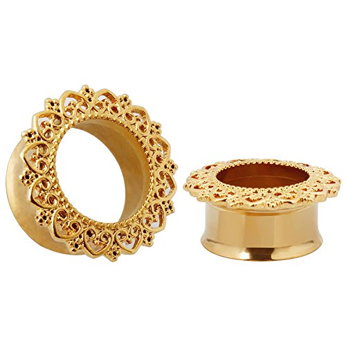 KUBOOZ Punk Style Ear Piercing Tunnels Plugs Jewelry Gold Plated Stainless Steel Flare Screw Back Plugs Gauges 0g