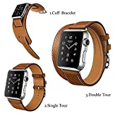 Smarmate Cuff Bracelet/Single Tour/Double Tour Leather Band Strap with Adapter Clasp for 38mm Apple Watch Series 3/Series 2/Series 1(Brown)