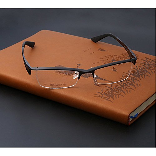 MINCL/Unisex Semi-rimless Mg Alloy Optical Frame Clear Lens Glasses Frames -yhl (gun, ca)