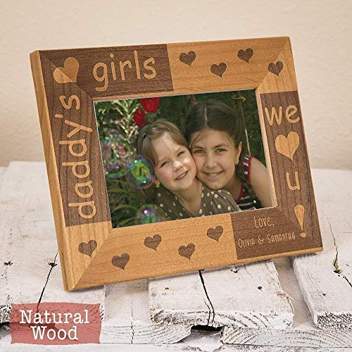 (Personalized Picture Frame for Daddy - Christmas Gift for Daddy from Daughters - Christmas Gift to Daddy - Wood Engraved Picture Frame for Dad - For Dad from Daughters)