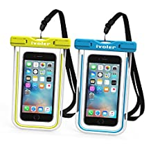 Waterproof Bag, [2 Pack] iVoler Clear Universal Snowproof Dirtproof Dry Bag Pouch for 6 / 6s Plus, iphone 7/7Plus, SE 5S 5C, Samsung Galaxy S6/S6 Edge/ S8 Plus/S8 , Cell Phone up to 6 inches (Blue + Bright Green)