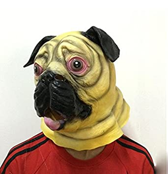 lecent novelty halloween costume party latex dog animal head mask pug mask bulldog mask sharpei