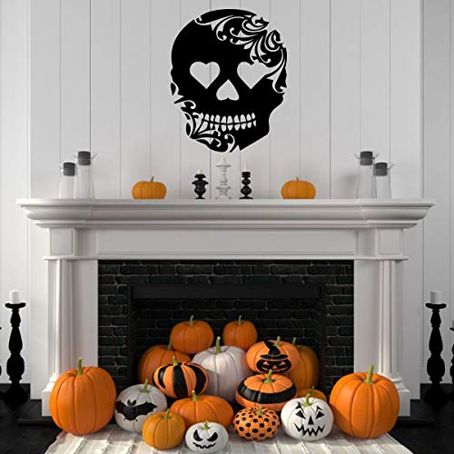 Halloween Decoration – Skeleton Skull Wall Decal - Fall Vinyl Decor for the Home, Office Or Dorm ()