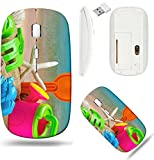 Liili Wireless Mouse White Base Travel 2.4G Wireless Mice with USB Receiver, Click with 1000 DPI for notebook, pc, laptop, computer, mac book toys for childrens sandboxes against the sea and the beach