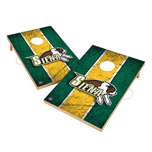 Victory Tailgate Siena College Saints NCAA Solid Wood 2x3 Vintage Cornhole Game Set - 2 Boards, 8 Bags (Siena Board Game)