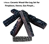 Hmleaf 5 Small Pieces Wood-like Ceramic Fireplace Logs for Gas Ethanol Fireplaces,Stoves, Firepits