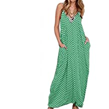 NewKelly Women Dot Printed Pocket Chiffon Boho Long Evening Party Beach Dress