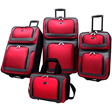 US Traveler New Yorker 4 Piece Luggage Set Expandable,Red,One Size