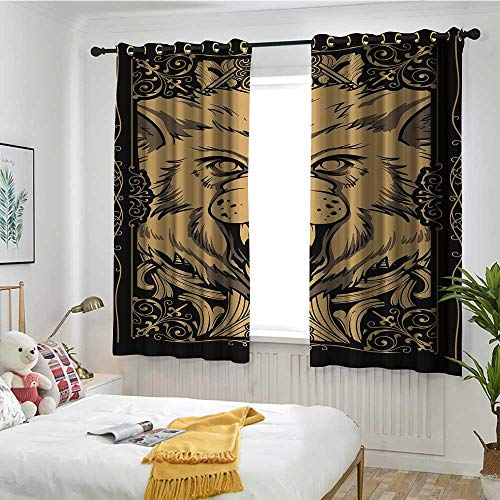 Beihai1Sun Wolf Thermal Insulating Blackout Curtains Angry Carnivore Animal Face with Skull Ornamental Curlicues Swirls Lines Frame Embossed Thermal Weaved Blackout W 63