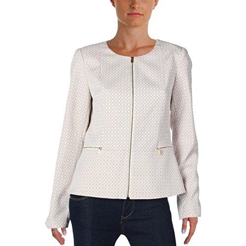 Calvin Klein Womens Pattern Long Sleeves Jacket Beige 14 by Calvin Klein