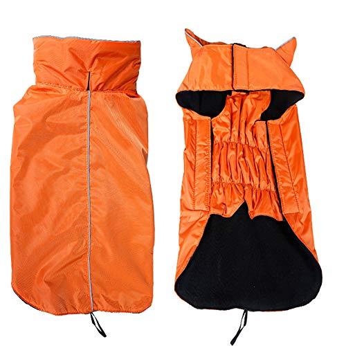 Morezi Dog Jacket,Waterproof Fleece Lined Reflective Jacket Dog Loft Jacket Dog Climate Changer Fleece Jacket - Orange - M
