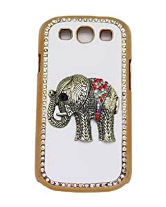White Leather Phone Case Hard Back Cover For Samsung Galaxy S3 I9300 Crystal Color Dress Bronze Elephant