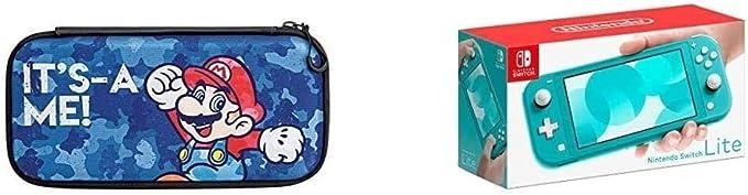 Nintendo Switch Lite - Consola + Funda Slim Travel Case Edición Mario Camo, Azul Turquesa: Amazon.es: Videojuegos