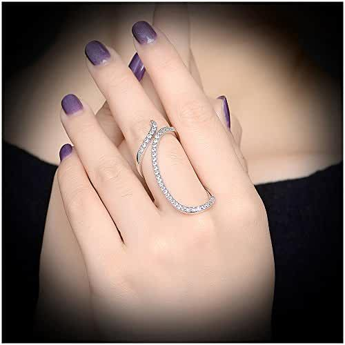 Dnswez Chic Austrian Crystal Cutout Twisted Statement Full Finger Kunckle Rings for Women