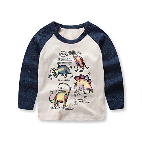 VICVIK Boys Dinosaur Long Sleeve T-Shirts Kid Cartoon Tee Baby Cotton Top Clothes Size 2-7Y (2t, Beige)