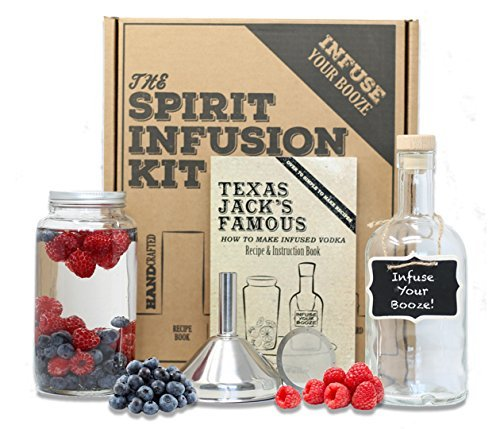 The SPIRIT INFUSION KIT - Infuse Your Booze! 70+ Homemade Flavored Vodka Recipes. Become an Infused Alcohol Cocktail Mixologist using the 110pg Recipe and Instruction Book. Great Gift & Party - Jar Gift Recipes