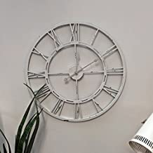 Handmade Large Antique White Color Wall Clock Metal Wall Art Hanging Decorative Home Decor Wall Sculpture