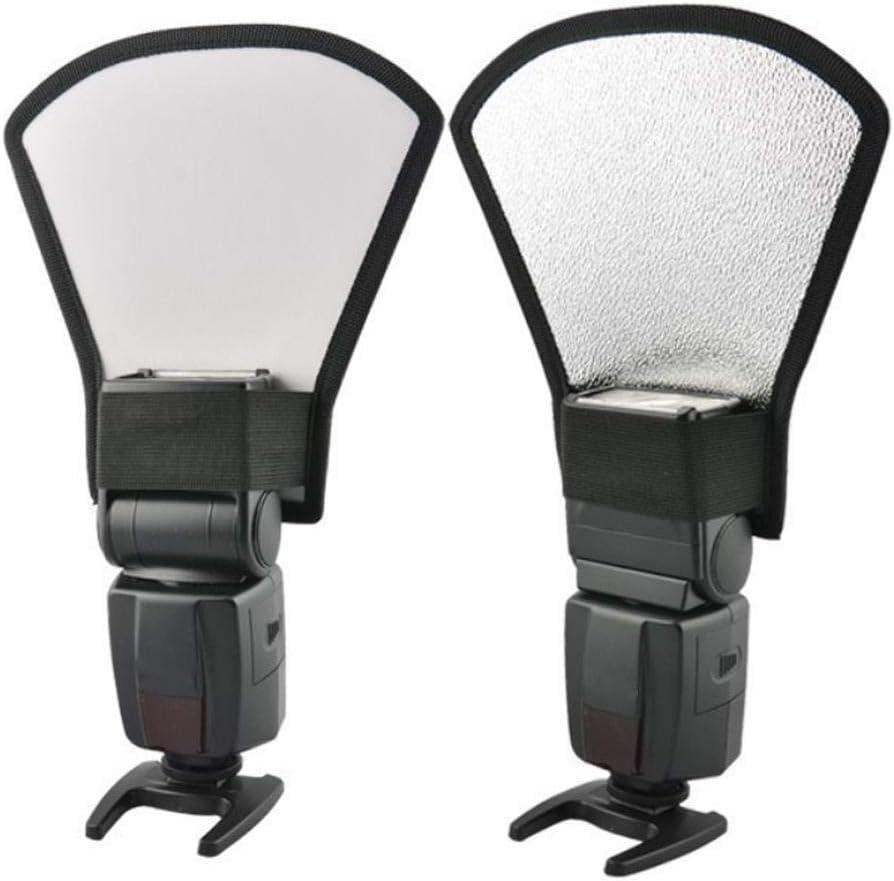 Bicaquu Universal Soft Intense Light Flash Speedlite Silver White Photography Reflector for SLR Cameras