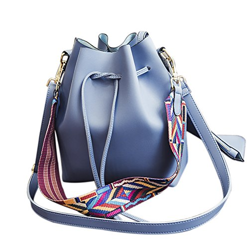 Women's PU Leather Drawstring Bucket Bag Crossbody Bag Shoulder Bag Purse With Colorful -
