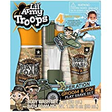 Lil' Army Troops Operation Groom & Go! 4 Piece Bath Time Play Shave Set - With Body Wash & Bath Foam - Pretend To Shave In The Tub!
