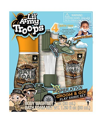 (Lil' Army Troops Operation Groom & Go 4 Piece Time Play Set-with Body Wash & Bath Foam-Pretend to Shave in The Tub)