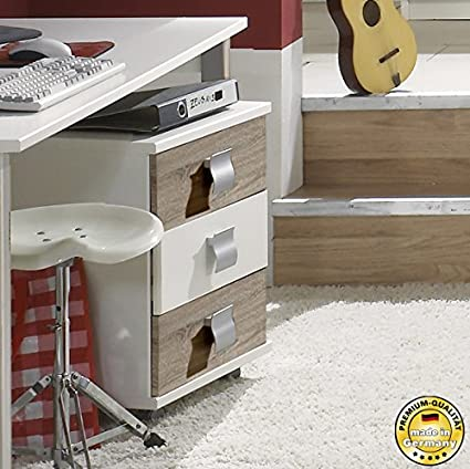 Contenedor de escritorio 600699 cajonera con ruedas de colour blanco/de madera de roble con