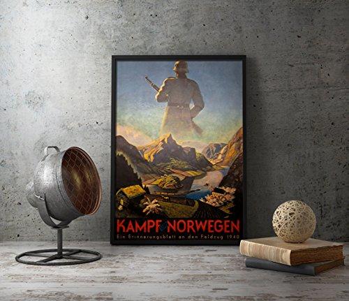 UpCrafts Studio Design German Propaganda Poster - Kampf UM NORWEGEN - WW2 Norway 1940s Reprint (8.3x11.7 inch (A4 Size), Brown Wood Framed Poster)