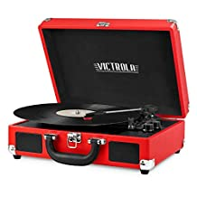 Innovative Technology ITVS-550BT-RED Victrola Vintage 3 Speed Bluetooth Suitcase Turntable with Speakers, Red