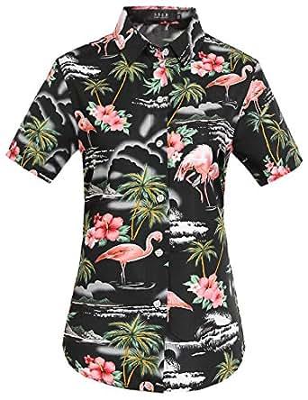 SSLR Women's Flamingos Floral Casual Short Sleeve Hawaiian Shirt (X-Small, Black)