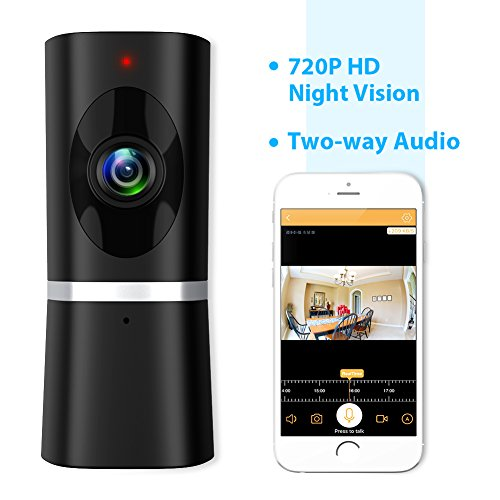 51RSvVEdOqL - Wireless Security Camera, Takihoo WiFi IP Indoor Home Baby Pet Surveillance Camera Monitor 720P HD Motion Detection 2-Way Audio Night Vision 180 Wide Angle Fisheye P2P Remote View IR Camera Panoramic