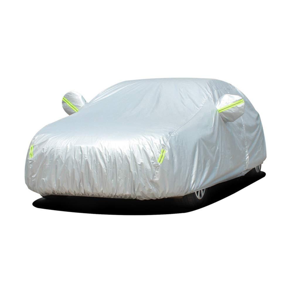 万全区孔家庄镇美衣社女装店 自動車用オックスフォードカーカバー防水全天候用太陽紫外線防止ミラーポケットフィットセダンメッセージ私達にあなたの車のモデル (色 : Silver)  Silver B07QXWMB2L