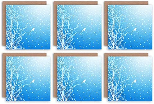Wee Blue Coo Christmas Cards 6 Pack Bird Winter Snow Trees Set Blank Xmas Cards Cristo Pájaro Invierno Nieve Arboles: Amazon.es: Hogar