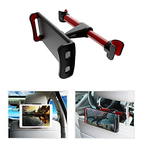 "pzoz Car Tablet Headrest Mount Holder Universal Backseat Portable DVD Player Kids for Nintendo Switch Apple iPad Pro Air Mini 1 2 3 4 Kindle Fire HD 7 8 10 Samsung Galaxy Tab 4""-10.5"" inch (Red-Black) -  4328649629"