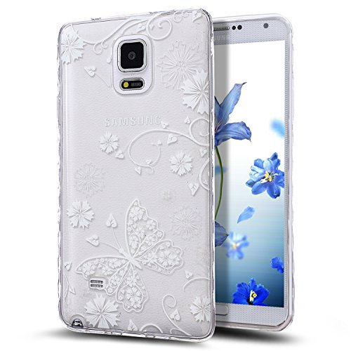 Galaxy Note 4 Case,NSSTAR Scratch-Proof Ultra Thin Crystal Clear Rubber Gel TPU Soft Silicone Bumper Case Cover with Shockproof Protective Case for Samsung Galaxy Note 4 N910,White Butterfly Flower 1