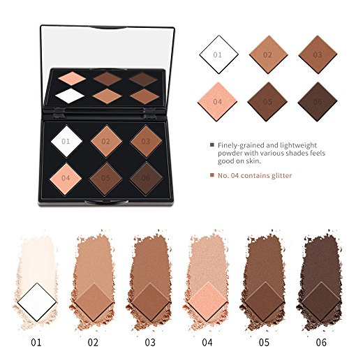6 Color Highlighter Face Powder Matte Contour Kit Concealer Palette Bronzer Makeup - Block Defect Whitening, Lasting Moisture, Water Tender Containment, Increase The Luster ()
