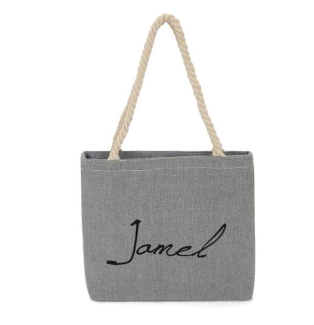 WHXYAA Jamel Printed Canvas Bag Shoulder Bag Tote Bag Ladies Large-Capacity Shopping Bag (Grey) Simple Atmosphere