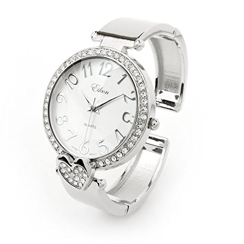 ❤ Silver Crystal Bangle Cuff Watch with Heart Shape Charm, Quartz Watch for Women ()