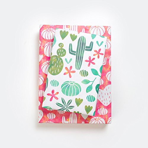 Cactus Watercolor/Blooming Succulents Designer Gift Wrap (6 Sheet Value Pack) - Reversible - Eco-friendly Wrapping Paper By Wrappily by Wrappily