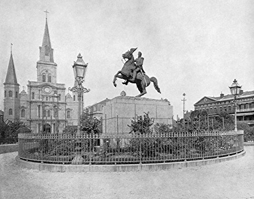 Jackson Square Statue - New Orleans Monument Nthe St Louis Cathedral And Statue Of Andrew Jackson At Jackson Square In New Orleans Louisiana Photograph C1890 Poster Print by (18 x 24)