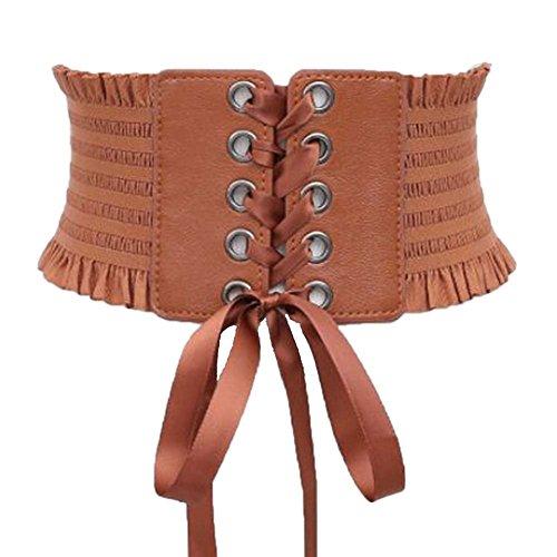 Womens Wide Elastic Lace-up Waist Belt Adjustable Leather Cinch Corset Waistband (camel) - Elastic Corset Cinch Belt